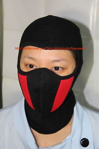 Motorcycle Mask Full Face Cold Protection Spandex Black/Red