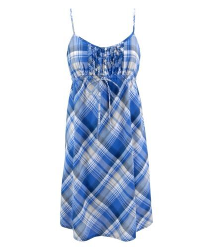AEROPOSTALE Blue Plaid Henley summer Dress  XS,S,M,L,XL