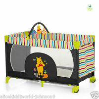 Hauck Disney Winnie The Pooh Tidy Time Wheeled Playpen Travel Cot +toybar