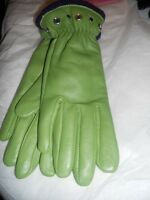 Lime Green Lined Genuine Leather Gloves