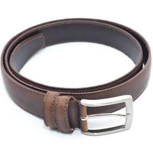 Cintura uomo fibbia alta made in italy vera pelle stile vintage marrone spazzola