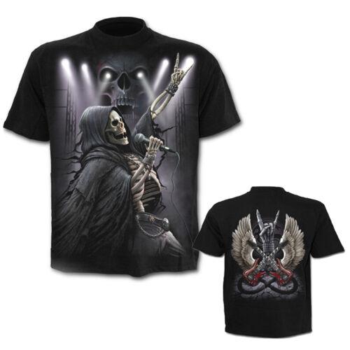 SPIRAL DIRECT ROCK 4 EVER BLACK T SHIRT S to XXL Biker Gothic Skeleton Music