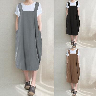 Plus Size ZANZEA Womens Sleeveless Casual Loose Shirt Dress Aprons Sizes 8-24