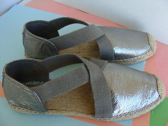 Tory Burch Catalina  Espadrille Flats Chaussures 9 m argent métallisé sangle élastique Bon