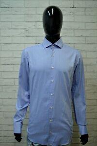 Camicia-Blu-Uomo-HUGO-BOSS-Regular-Taglia-XL-Shirt-Man-Maglia-Manica-Lunga