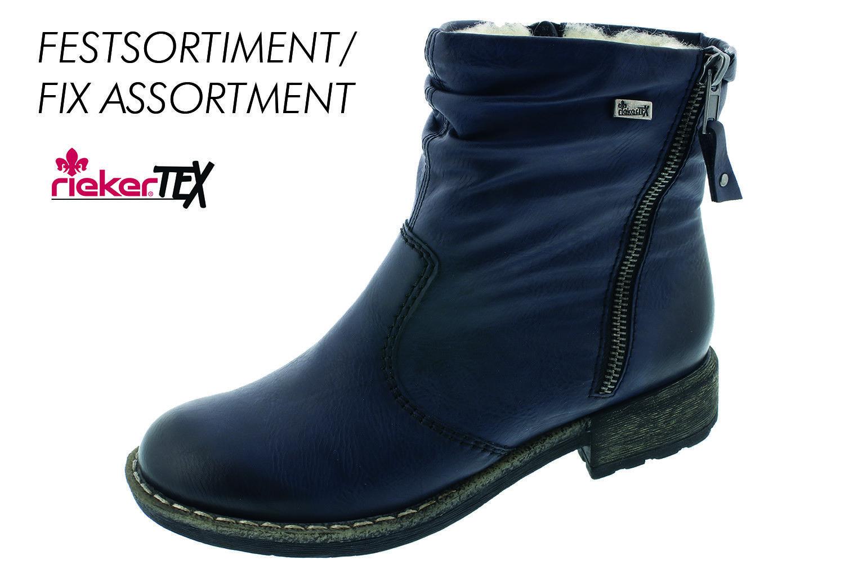 Rieker Stivali da Donna Stivaletti Stivali Stivali Invernali Blu Caldo MANGIME 74673 NUOVO