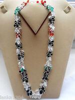 Hallmark Sterling Silver Sri Lanka Moonstone Onyx Bunch Necklace (n20/9) (new)