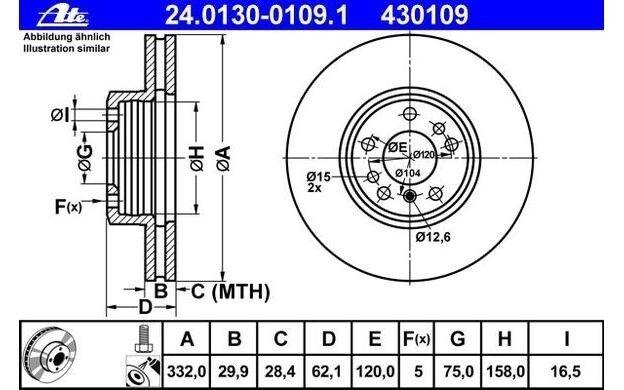 ATE Juego de 2 discos freno Antes 332mm ventilado para BMW X5 X3 24.0130-0109.1