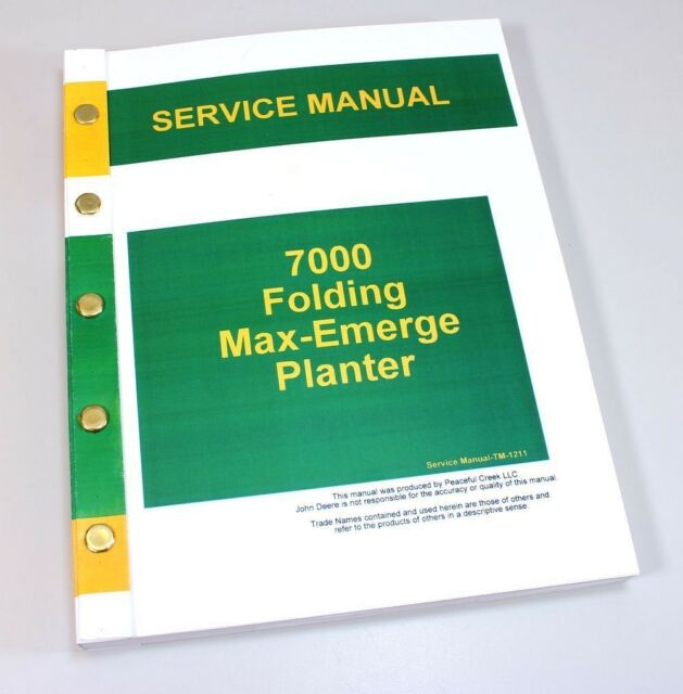 John Deere 7000 Folding Max Emerge Planter Service Repair Manual Shop Book JD