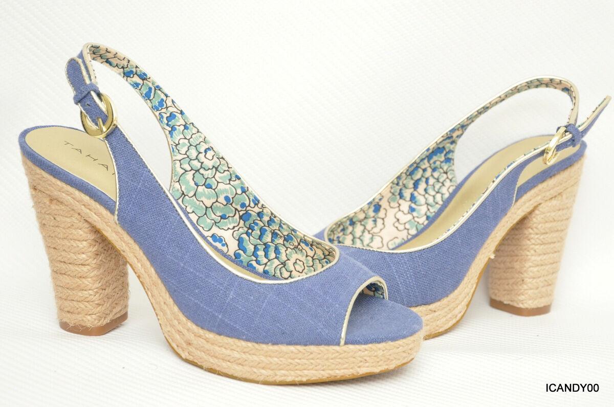 Nuevo Tahari  Barb  Sandalia de tacón tacón tacón Bomba De Lona Charol Plataforma Zapato  Azul  9.5  para proporcionarle una compra en línea agradable