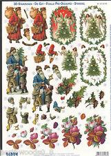PRECUT CHRISTMAS SANTA  PAPER TOLE DIMENSIONAL GERMANY CARD  ORNAMENT COLLAGE
