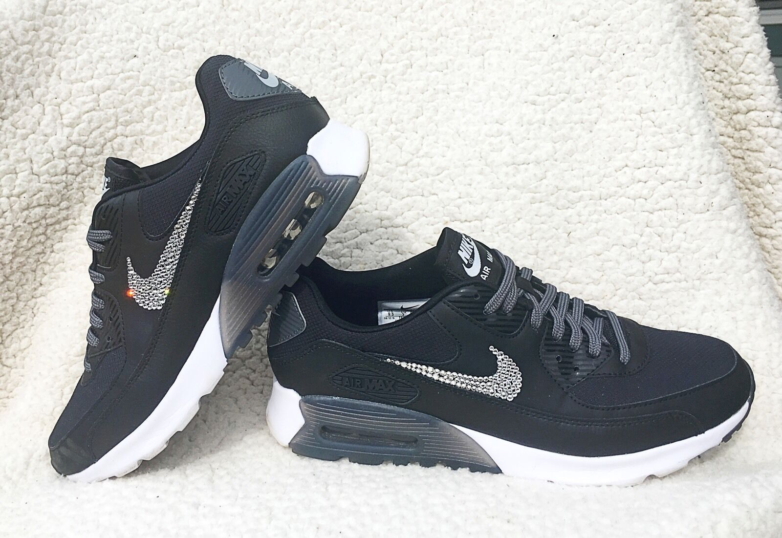 Womens Nike Air Max 90 Ultra Essential Black Nikes W Swarovski Crystals Bling