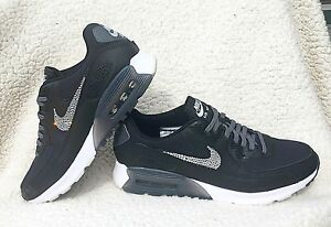 Womens Nike Air Max 90 Ultra Essential Black Nikes W Swarovski ... 38e6e6315
