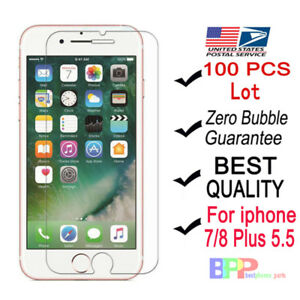 100x-Wholesale-Tempered-Glass-Screen-Protector-for-Apple-iPhone-7-8-Plus-5-5-034