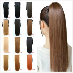 24inch-Queue-de-Cheval-Postiche-Extension-de-Cheveux-Lisse-Ponytail-Clip-in-Hair