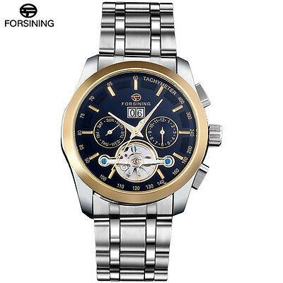 FORSINING Stainless Steel black gold Automatic Mechanical  Tourbillion Men Watch