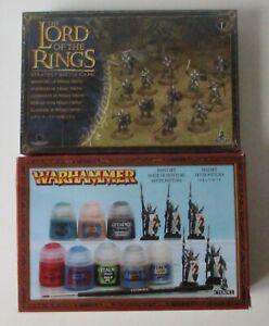 Warhammer-LOTR-Guerriers-Minas-Tirith-et-boite-de-peinture-avec-5-hauts-elfes