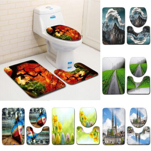 Forest Tree Landscape 3 Pcs Bathroom Floor Carpet Non-Slip Toilet Cover Bath Rug