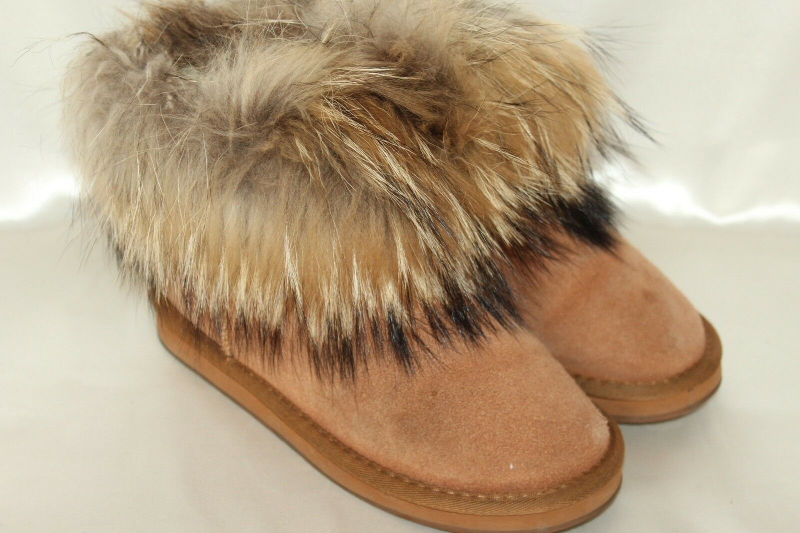 SNOW ELF Chestnut Suede Sheepskin Ankle Fur Cuff Ankle Boots Sz 7