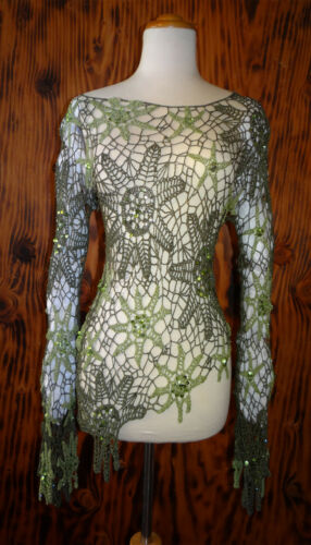 Green Crochet Top Embellished with Sequins and Bea