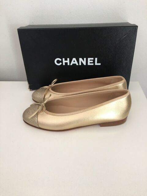 CHANEL Gold Ballerina Flats With Python