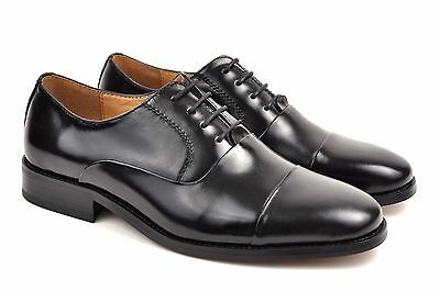 La Milano Men's Oxford Black Leather Cup Toe Dress Shoes A591/F591