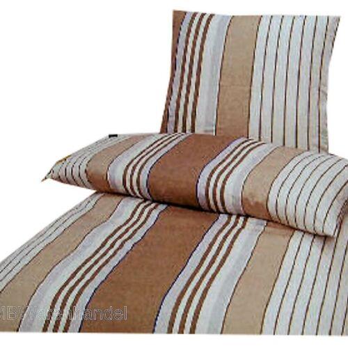 Baumwolle braunbeigeweiss Streifen 135x200 Bettwäsche Set 2-tlg 80x80
