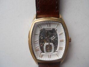 W-resistant Kleid Verantwortlich Fossil Herren Automatisch Braunes Leder Band.analog Armbanduhren Armband- & Taschenuhren