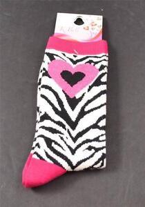 NWT-New-K-Bell-Socks-Pink-Heart-Top-Toe-Black-White-Zebra-Crew-Size-9-11