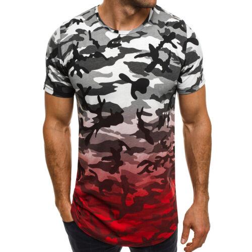 OZONEE MIXD 7072 Herren T-Shirt Kurzarm Figurbetont Camouflage Slim Fit Fitness