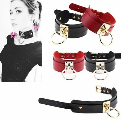 Fetish choker Leather black wide choker with one o-ring O/'ring neckless choker BDSM Collar African necklace Kitty collar