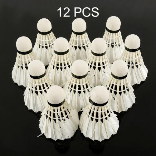 12pcs volants en plumes d/'oie jeu formation balle badminton pro durable ME