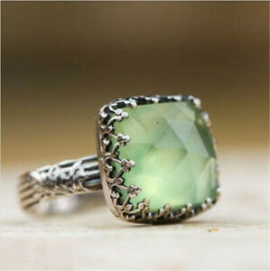 Vintage-Women-925-Silver-Green-Gemstone-Peridot-Wedding-Ring-Jewelry-Sz-6-10