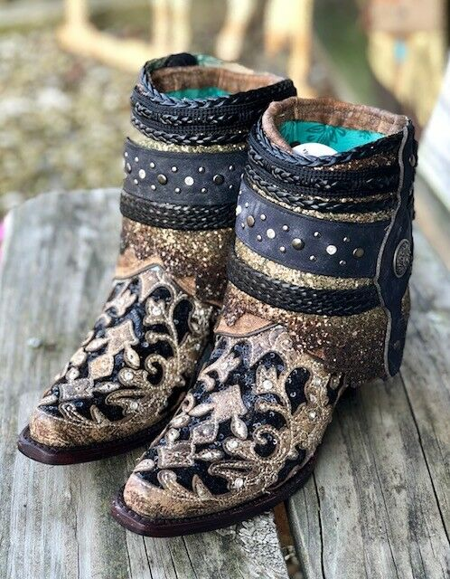 Corral Black Women's Brown & Black Corral Inlay Embroidered Flip Shaft Ankle Boot A3691 dea30f