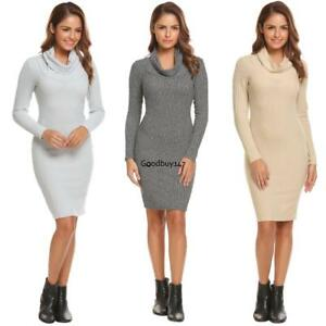Women-Classic-Slim-Fit-Cowl-Neck-Long-Sleeve-Pullover-Sweater-Dress-GDY7