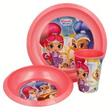 Girls Shimmer Shine Plastic Breakfast Dinner Meal Plate Bowl Cup 3 Piece Set
