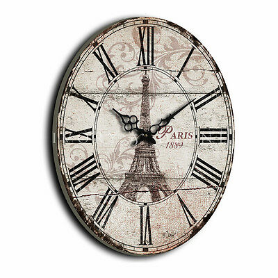 HUGE 60cm Old Paris Oval WALL CLOCK Eiffel Tower Antique Cream French Provincial