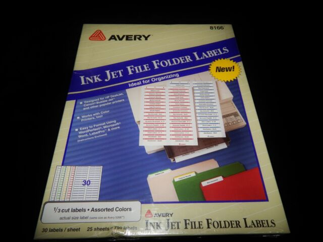 Avery File Folder Labels 8166 1/3 Cut 25 Sheets 30 per Sheet Assorted Colors