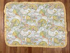 VTG Sears Quilted Baby Comforter Blanket Ducks Yellow Ruffled Edge AA