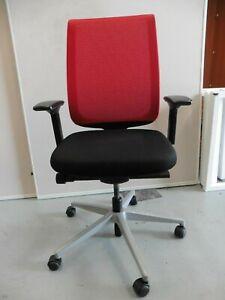 OFFICE-STEELCASE-CHAIR-BLACK-RED-MESH-BACK-BRISBANE