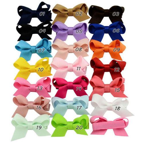 20PCS Baby Girls Hair Bows Boutique Alligator Clip Grosgrain Ribbon Hairpins  XJ