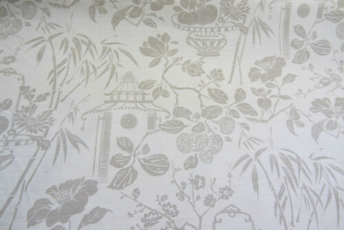 Oriental Garden Cotton Natural Curtain//Craft Fabric by the metre