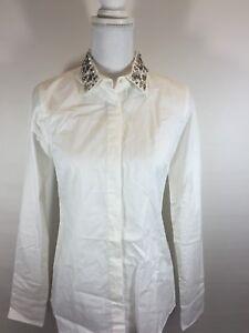 Nwt J Crew Jeweled Collar Boy Blouse Shirt Top Embellished Sz 2 148