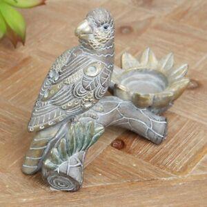 Carved-wood-effect-exotic-parrot-tea-light-holder-Bronze-Moroccan-style-UK-BASED