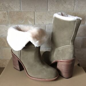 a5ba84550e2 Details about UGG JERENE ANTELOPE SUEDE SHEEPSKIN LACE HEELS SHORT BOOTS  BOOTIES SIZE 7 WOMENS