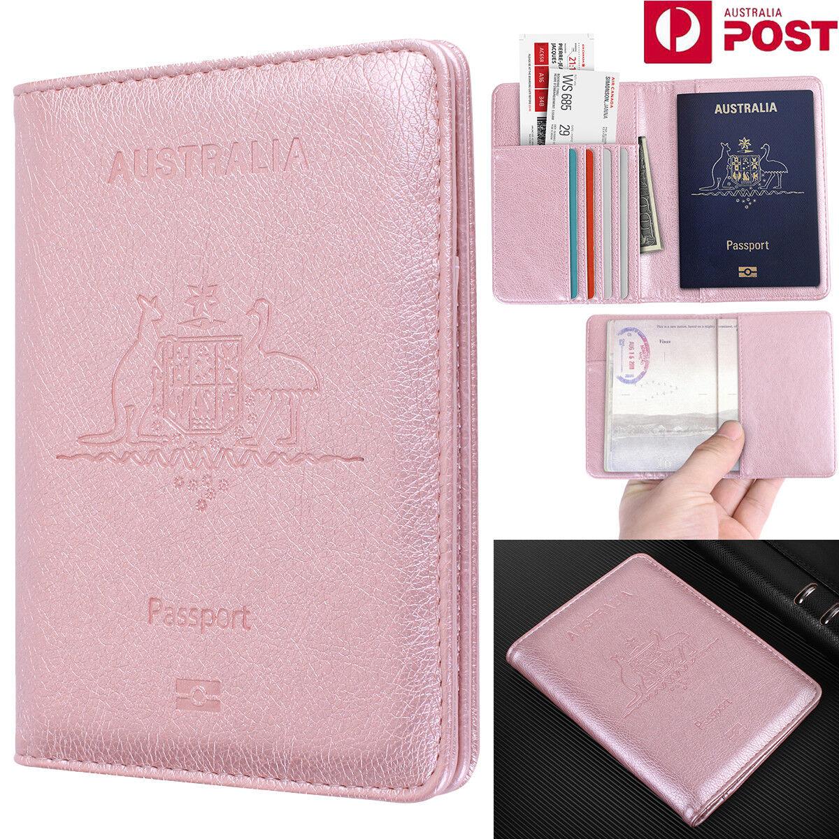 Slim Leather Travel Passport Wallet Holder RFID Blocking ID Card Case Cover AU 5