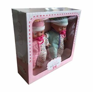Little Baby Twins 2 Baby Dolls With Dummy Accessory - Pink & Green