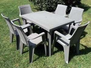 Sedie E Tavoli Da Giardino In Plastica.Set Da Giardino Tavolo E Sedie In Resina Effetto Rattan Maddy Ebay
