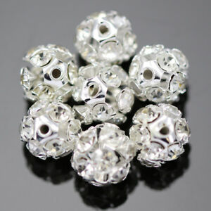 Clear-Rhinestone-Crystal-Diamante-Silver-Plated-Round-Ball-Spacer-Beads