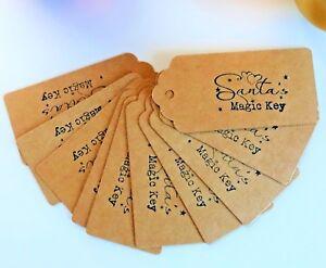 SANTA-magic-key-tags-etichette-Padre-Vigilia-di-Natale-senza-canna-fumaria-Fiera-Artigianato-fai-da